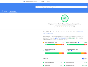 PageSpeed Insights パソコン99点